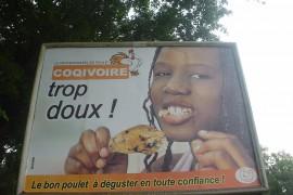 鶏肉の広告「コックイボワール、とてもおいしい!」