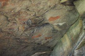 コバム保護区に残された、サンによって描かれた岩絵