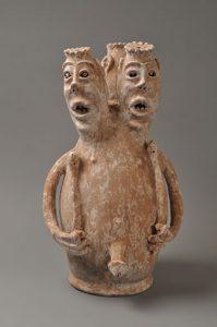 エウェ族(トーゴ)の祖先像 素焼きの上に石灰石(H61cm)