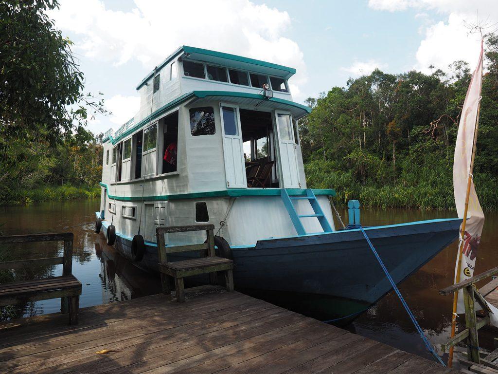カリマンタンではこんな川船を使って熱帯雨林の川を遡上します