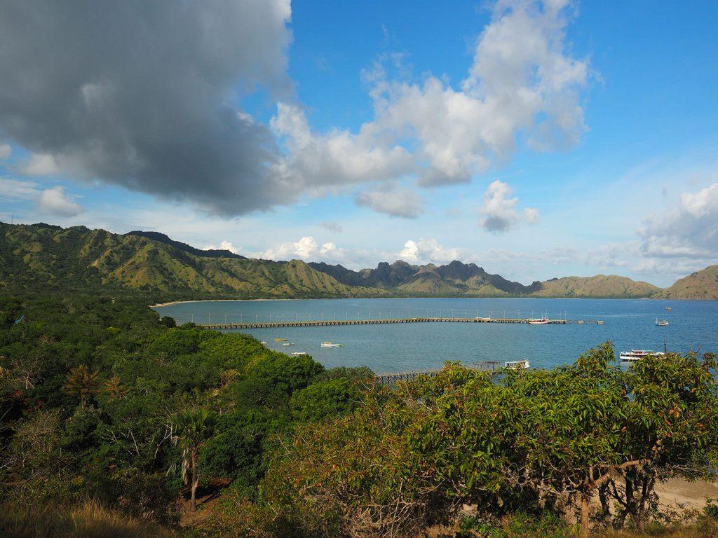 美しい入り江を持つコモド島の景観
