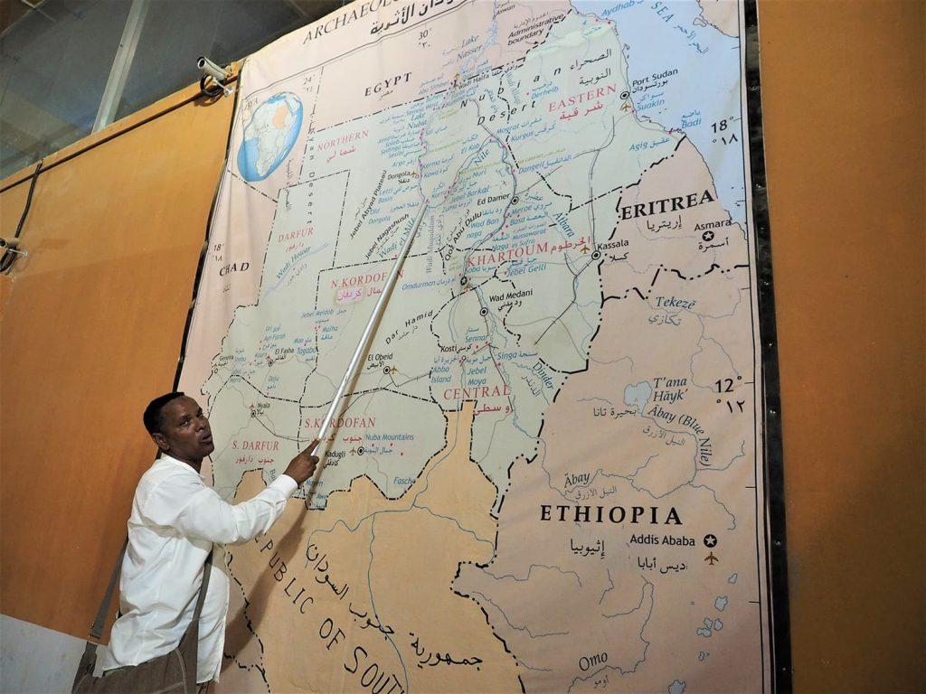 首都ハルツームの国立博物館の大きな地図、スーダンの歴史の移り変わりも良く分かります。