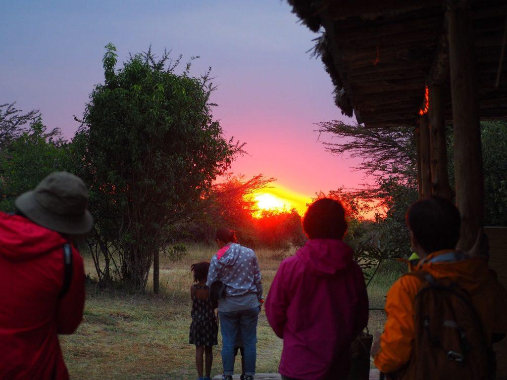 最終日に、ロッジから眺めた大きく、温かく、力強いアフリカの夕日。