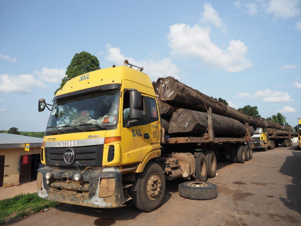 熱帯雨林の木材を運ぶ巨大トラック。
