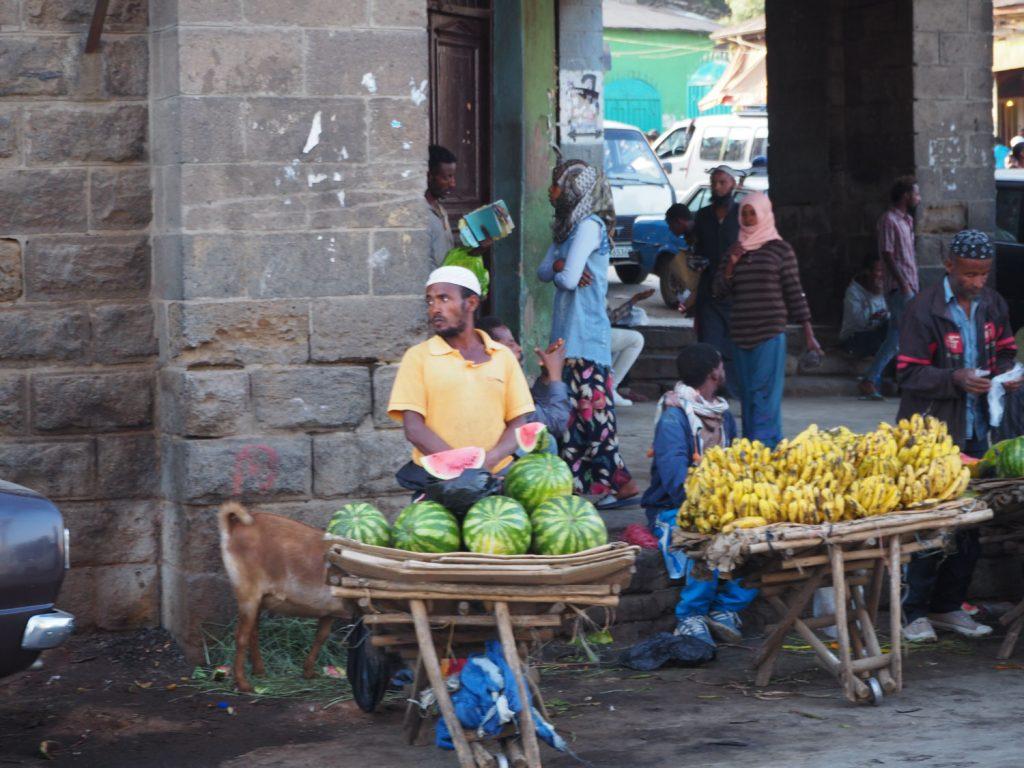 ここに行けば欲しいものは何でも揃う!とも言われるエチオピア最大の市場・マルカート市場。車窓から見える景色は全て興味を引くものばかり。