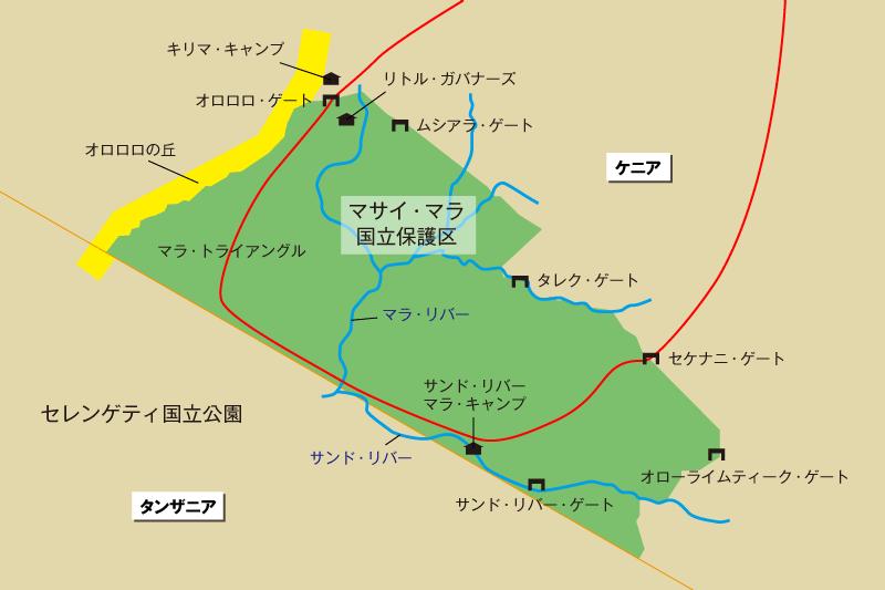 今回のサファリで訪問したルート地図