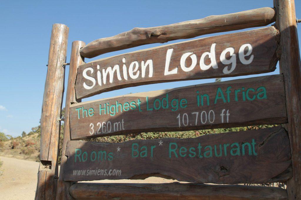 標高3240mに立地するシミエンロッジ