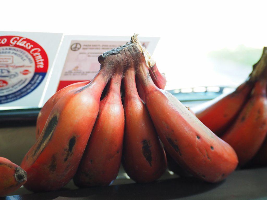 ムトワンブで良く販売されているレッドバナナ。持ち帰れないのが残念なほど甘くて濃厚。