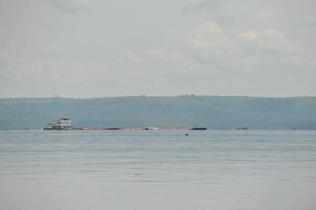 対岸はコンゴ共和国。そして、コンゴ共和国の平底船