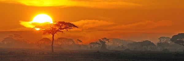 アンボセリの朝日。写真にすると朝日と夕日の区別が難しいのですが。正真正銘の朝日。シャドウ部分だけをちょっと明るく調整しました。