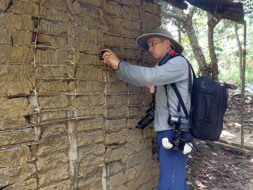民家の壁に作られたドロバチの巣を撮影