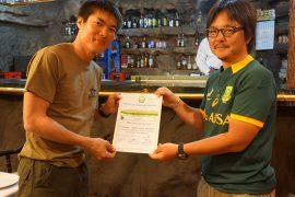 登頂証明書授与。おめでとうございます!!