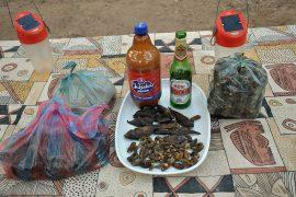 モパニワームと干し魚、後方は現地のどぶろくとローカルビール