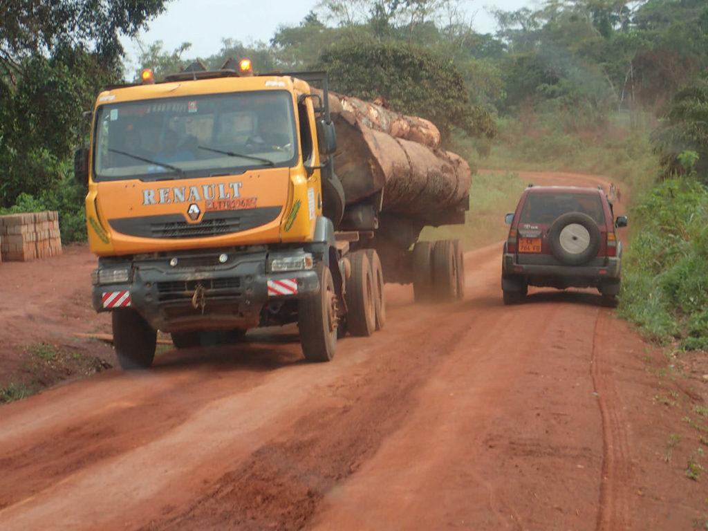 ロミエへの道 材木を積んだ大型トラックとすれちがう