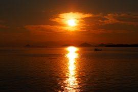 美しい多島海のサンセット。