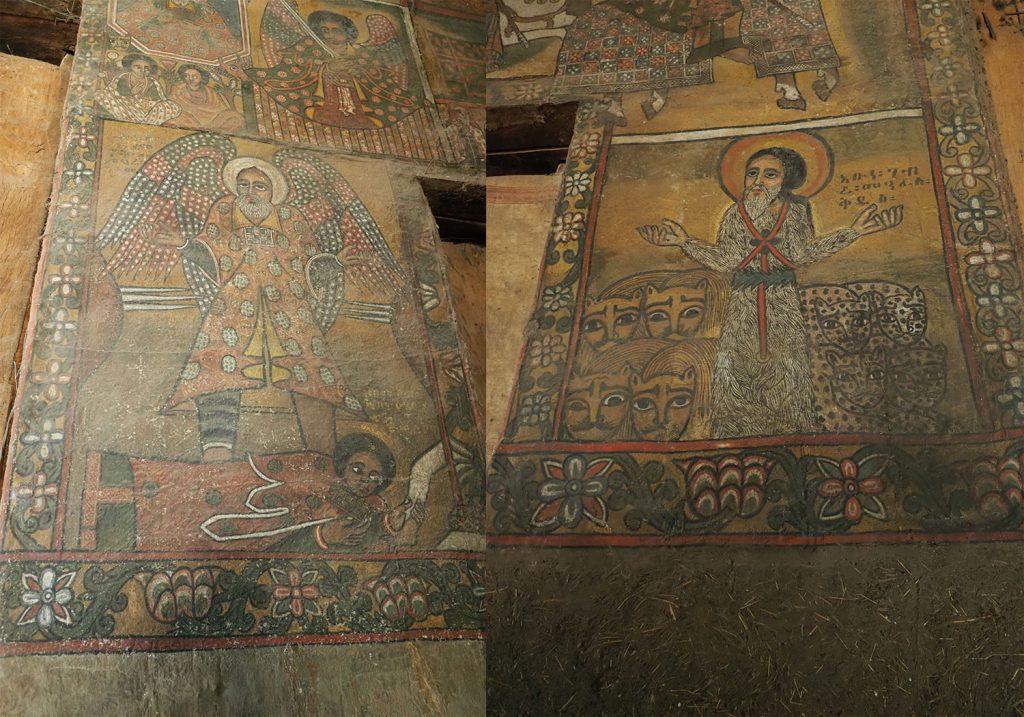 毛皮の衣服をまとってライオンとヒョウを従えた聖ゲブラ・マンファス・ケッドゥスと片足を失った代わりに6枚の翼を背に得た聖テクレ・ハイマノウトの壁画