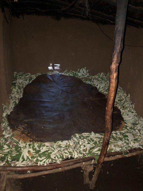 今日のベッドです。村の婦人会の方たちがきれいに葉っぱを敷き詰めその上に牛の革をひいてくれており、家の中は想像以上に快適です。