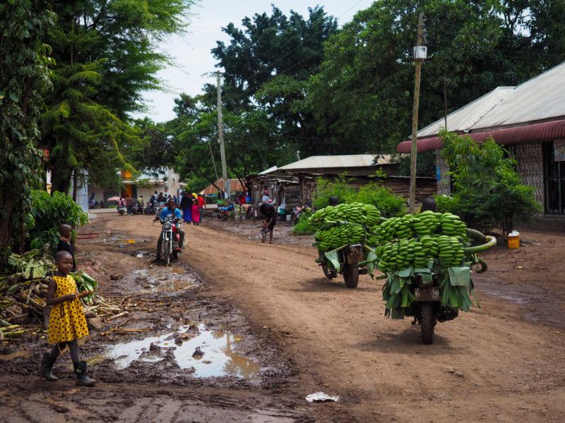 ムトワンブの街の風景。小さな町ですが、ここはバナナの一大産地として名を馳せています。