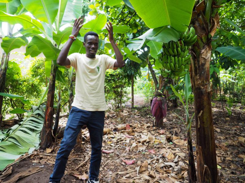 農家のお兄ちゃんがバナナの育て方を解説してくれました。バナナの樹は一生に1回!しか実を付けないそうです。そんなに貴重だったなんて。
