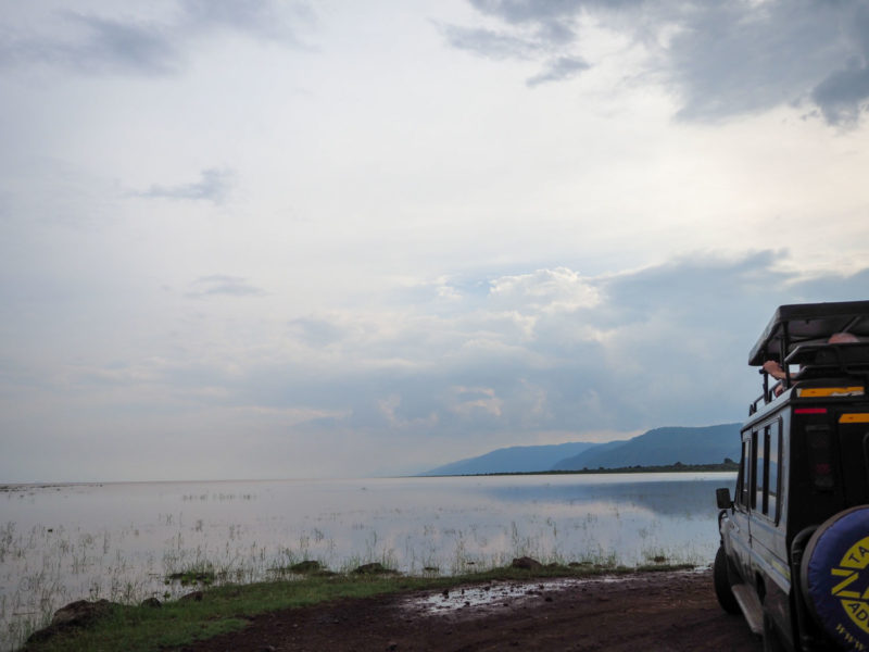 夕暮れ時に臨む雄大なマニャラ湖。合計で400種類を超える鳥類が生息していると言われています。