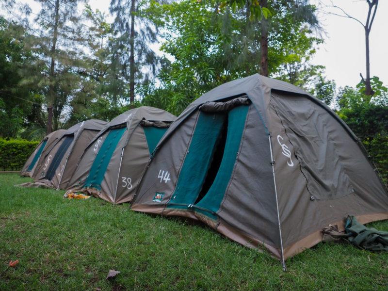ムトワンブの街に戻り、テントに荷物を運びます。サファリドライブ中にコックさんが設営してくれていました。