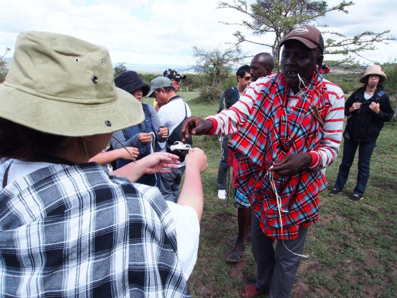 マサイの村人たちは放牧中、木の皮をはぎ取りそこから水分を取ります。