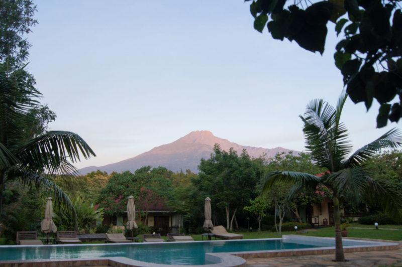 到着翌日、アルーシャのロッジから見えたメルー山。