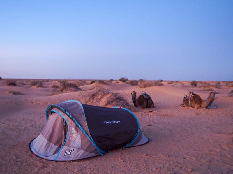 テントはワンタッチ式。ちょっとコツが要りますが、慣れればどなたでも設営・撤収は簡単です。