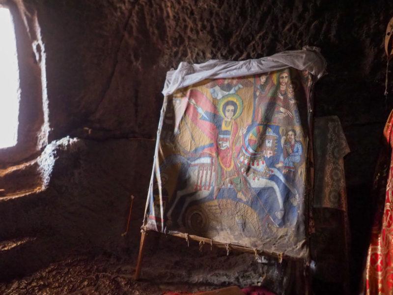 羊皮紙に描かれた聖ギオルギオス。竜退治の伝説を持つキリスト教の聖人の一人です。